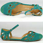 Green Jeweled Round Toe Mary Janes Cut Out Flat Sandal Nature Breeze Ariel-13
