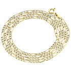 Real 10K Yellow Gold Diamond Cut Figaro Style Chain 1.90mm Necklace 16-24 Inches