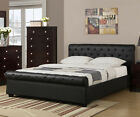 NEW MARILLO II TUFTED BLACK BYCAST LEATHER FULL or QUEEN SLEIGH PLATFORM BED