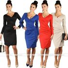 2016 Sexy V Neck Long Sleeve Bodycon Slim Office Office Pencil Midi Dress