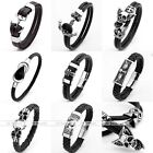 New Women Men Cool Unisex Genuine Leather Charms Stainless Steel Clasp Bracelet