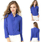 Womens Blouse Long Sleeve Office Top Collar Ladies Shirt Formal Wear Size S~XL