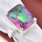 Chritmas Gift Natural Shiny Rianbow Mystic Topaz Gems Solid Silver Ring Sz 7 8 9