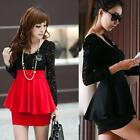2016 Womens Mini Dress Long Sleeve Lace Sexy Peplum Cocktail Party Skirt