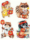 Ceramic Decals Cute Halloween Animals Dress-Up Cat Raccoon image