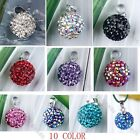 1pc 10Color 925 Sterling Silver Czech Crystal 10mm Ball Bead Bail Pendant Jewels