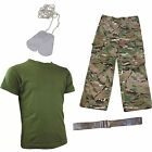 Kids Pack 4 HMTC MTP MultiCam Pack Military Army Dog Tags Fancy Dress BELT
