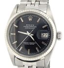 Rolex Datejust Mens Stainless Steel & 18K White Gold Black Watch Jubilee 1601