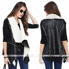 Womens PU Leather Sleeveless Long Jacket Coat Parka Outerwear Waistcoat USA