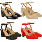 New Womens Ladies Mid Block Heels Office Work Shoes Strappy Party Sandals Size