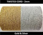 Twisted Braid Cord Soutache  – 2 mm wide Metallic Gold & Silver   (F)