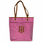 Tommy Hilfiger Tote Handbag Pink Th Logo Womens Large Jacquard Bag  New