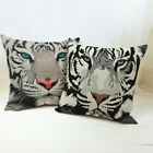 Square Vintage Linen White Tiger Decorative Cushion Cover Throw Pillow Case