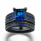 Princess Cut 8mm Emerald Sapphire Black Women Wedding Engagement Bridal Ring Set