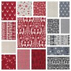 SCANDI 3 CHRISTMAS 100% COTTON FABRIC MAKOWER Scandinavian Reindeer Nordic Deer