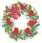 Ceramic Decals Christmas Little Red Cardinal & Wreath Bow Holly
