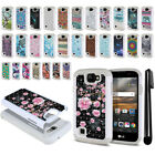 For LG K3 LS450 Anti Shock Studded Bling HYBRID Case Soft Hard Phone Cover + Pen