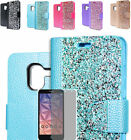 Tempered Glass+Rhinestone Wallet Case Cover For Alcatel One Touch TRU / Stellar
