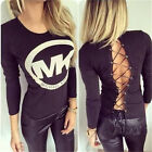 Casual Ladian Tops O-Neck Print Black/White Lacing Solid Long Sleeve S M L 5010