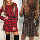 Women's Casual Plaid Long Sleeve Cotton Tartan Blouse Loose Shirt Mini Dress