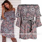 Womens Lady Off-Shoulder Vintage Flare Sleeve Mini Dress Geomatric Print Party