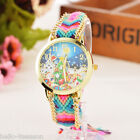 Fashion New Women Girl Weave Analog Quartz Wristwatch Child Christmas Gift