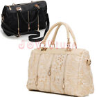 Women's Beige Celebrity PU Leather Ladies Lace Stud Tote Shoulder Bag Handbag