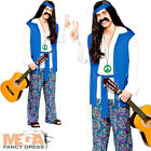 Groovy Hippie Mens Fancy Dress 1960s 70s Hippy Adults Sixties Costume Outfit New