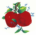 Ceramic Decals Red Apple Pair Green Leaves Blue Vine image