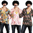 Hippy Shirt + Wig Mens 1960s Fancy Dress 60s Hippie Sixties Adult Costume Outfit