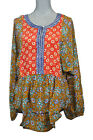 Tolani Freida Henley Tunic Top Coral Mustard Multicolored Silk Blouse M New