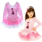 Girls Heart Lace Flower Cotton Tutu Dress Party Suit Fairy Print Long Sleeve