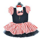 Girls Pirate Cosplay Halloween Cotton Tutu Dress Stripe Two Picese Short Sleeve