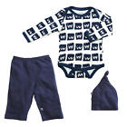 "Baby Soy Neutral 3 Piece Ivory/Navy Alphabet ""W"" Printed  Bodysuit, Pant & Hat"