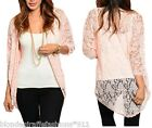 Light Peach Mesh Lace 1/2 Sleeve Open Front Shrug/Cover-Up Tunic Cardigan