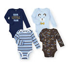 Koala Baby Boys 4 Pack Assorted Long Sleeve Bodysuit Set
