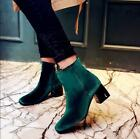 New  Womens Fashion Zip High Block Heel Velvet Ankle Boots Winter Formal Shoes