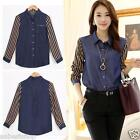 Long Sleeve Light Weight  Denim Chiffon Blouse Shirt Blue- S M L