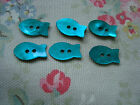 6 TURQUOISE  FISH   Agoya Shell Buttons