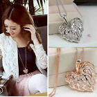 1pc Tone Heart Leaves Crystal Pendant Women Long Sweater Necklace Chain Jewelry