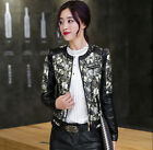 Womens floral pu leather slim fit casual jacket round collar short overcoat P55