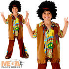 Boys Hippie Fancy Dress 1960s 70s Groovy Childs Childrens Kids Hippy Costume New