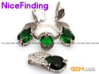 Charm Semi Emeral Faceted Pendant Earirngs Ring Jewelry Sets For Women Xmas Gift