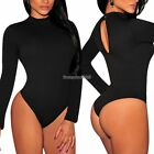 Women's Neck Long Sleeve Backless Casual Bodysuit Leotard Top Jumpsuit ED