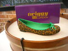 Twiggy London Brown Leopard & Green Bow Ballet Flats NEW