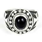 BLACK ONYX IRON CROSS RING STERLING SILVER 925
