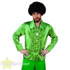 MENS GREEN 1970S DISCO RUFFLE SHIRTS ADULTS FANCY DRESS COSTUME 70S FRILLY TOP