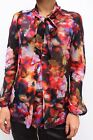 Karen Millen Floral Print Pussy Bow Sheer Casual Smart Shirt Blouse Top 10 - 12