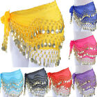 Girls Belly Dance Bead Chiffon Hip Scarf Dancing Wrap Gold Coin Waist Belt Skirt