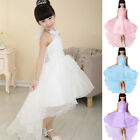 Girls Bridesmaid Flower Polyester Dress Formal Pageant Beaded Sleeveless
